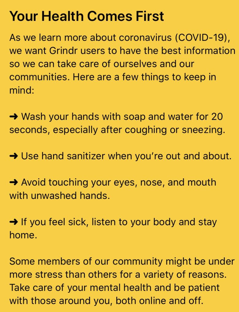 Grindr has issued a coronavirus alert to users