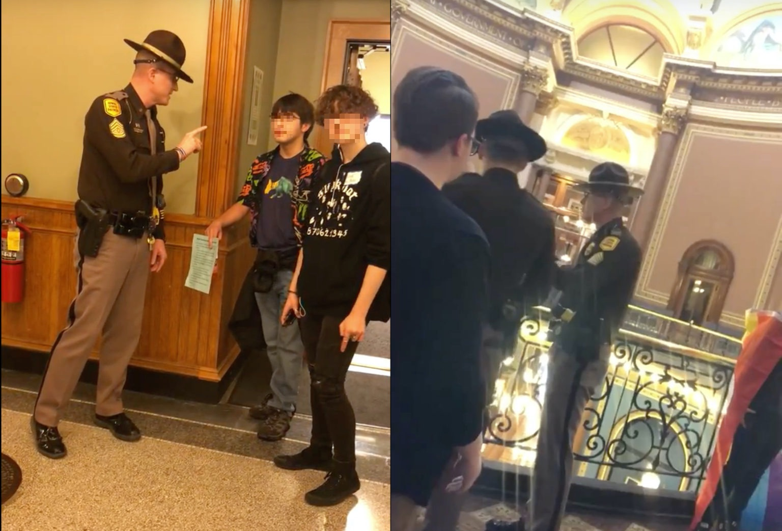 "State troopers thronged the Iowa Capitol Hill building and demanded the trans teens leave the premises after using restrooms that align with their gender identity. The Iowa state trooper demanded the trans teen leave after they used the restroom, with one teen lashing back ""Why do you care?"" On the right, the students leave the building in tears. (Iowa Safe Schools)"