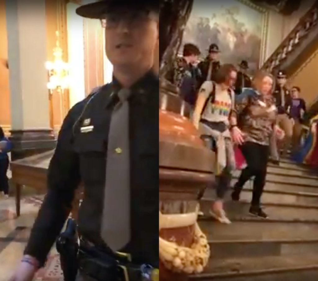 "The Iowa state trooper demanded the trans teen leave after they used the restroom, with one teen lashing back ""Why do you care?"" On the right, the students leave the building in tears. (Iowa Safe Schools)"