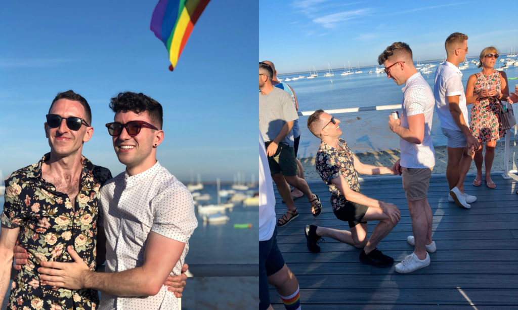 Mitch (L) proposed to his partner, Brian, at the Tea Dance in Provincetown in the summer of 2019. (Mitch Chase)
