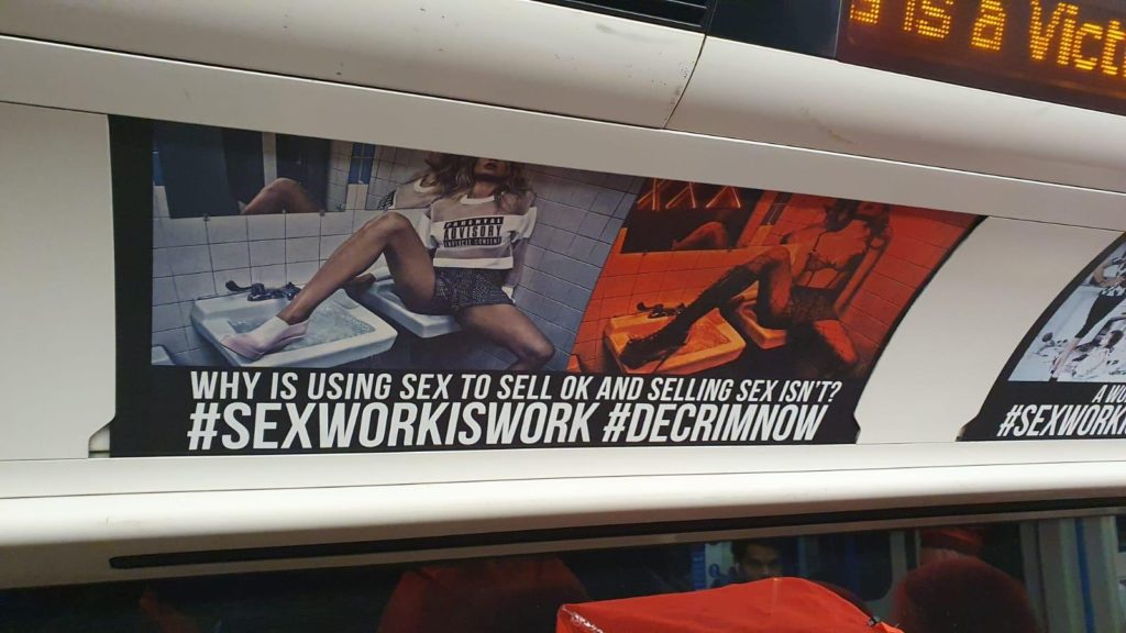 Campaign calling for decriminalisation of sex work adorns London tube