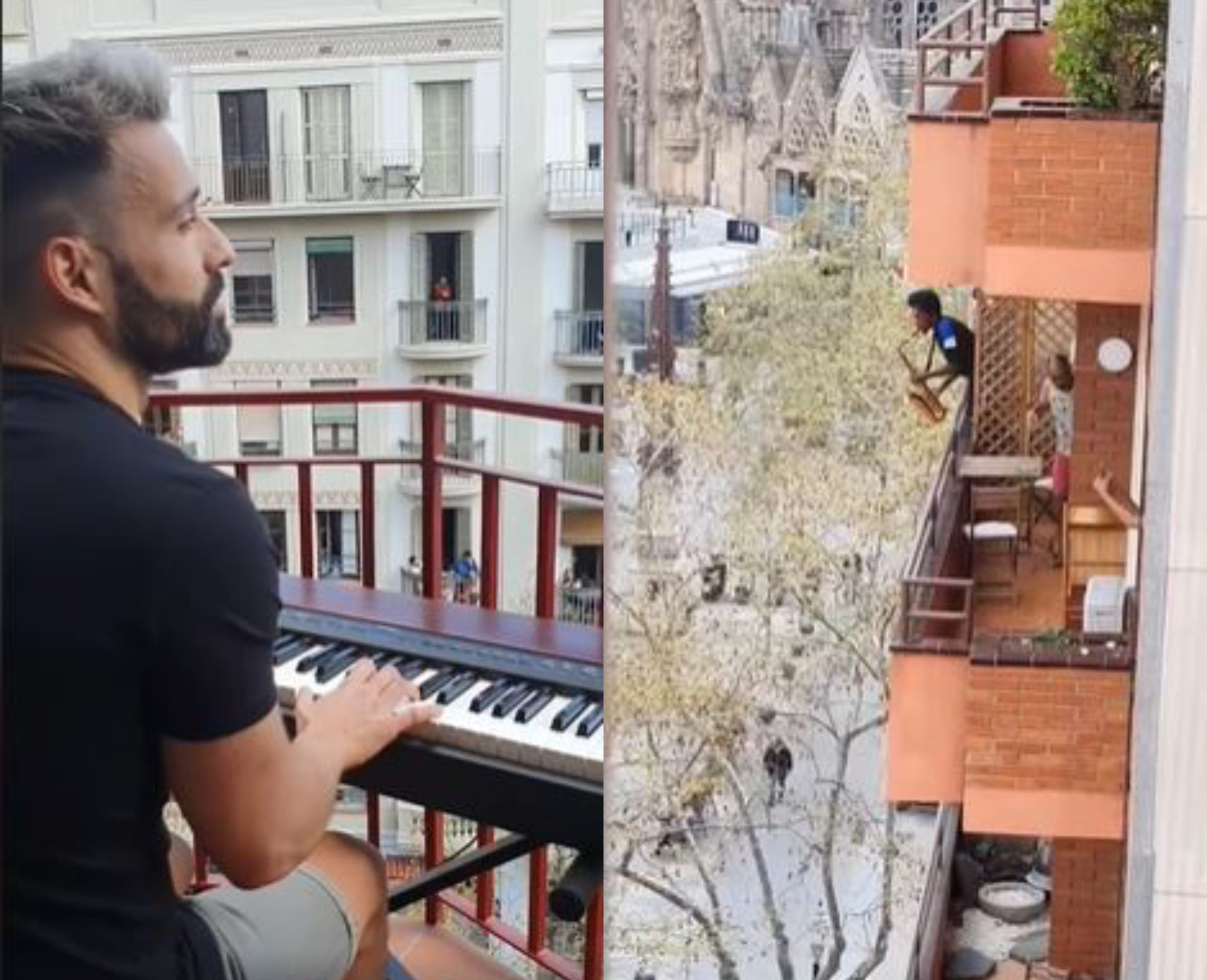 Gay pianist Alberto Gestoso played Céline Dion's iconic number to cooped-up locals while Spain is under coronavirus lockdown. (Screen captures via Instagram)