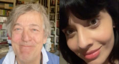 Stephen Fry (L), Jameela Jamil and more shared why being a trans ally is vital on Trans Day of Visibility for the Sarah O'Connell Show. (Screen captures via YouTube)