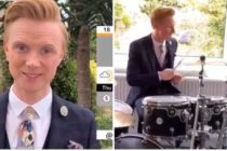 Owain Wyn Evans, who fronts North West Tonight, drummed the opening tune to the news while in his home under lockdown. (Screen captures via Twitter)