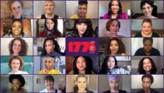 A recent Zoom session with the cast of 1776. (American Repertory Theatre)
