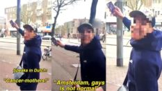 Amsterdam homophobic gay couple spat on