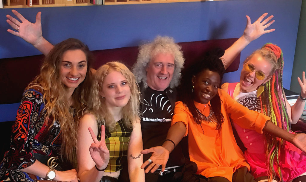 (From L-R) Brian May, Talia Dean, Isabel Lysell, session bassist Rosetta Carr and Vicky O'Neon. (Desmond Murray)