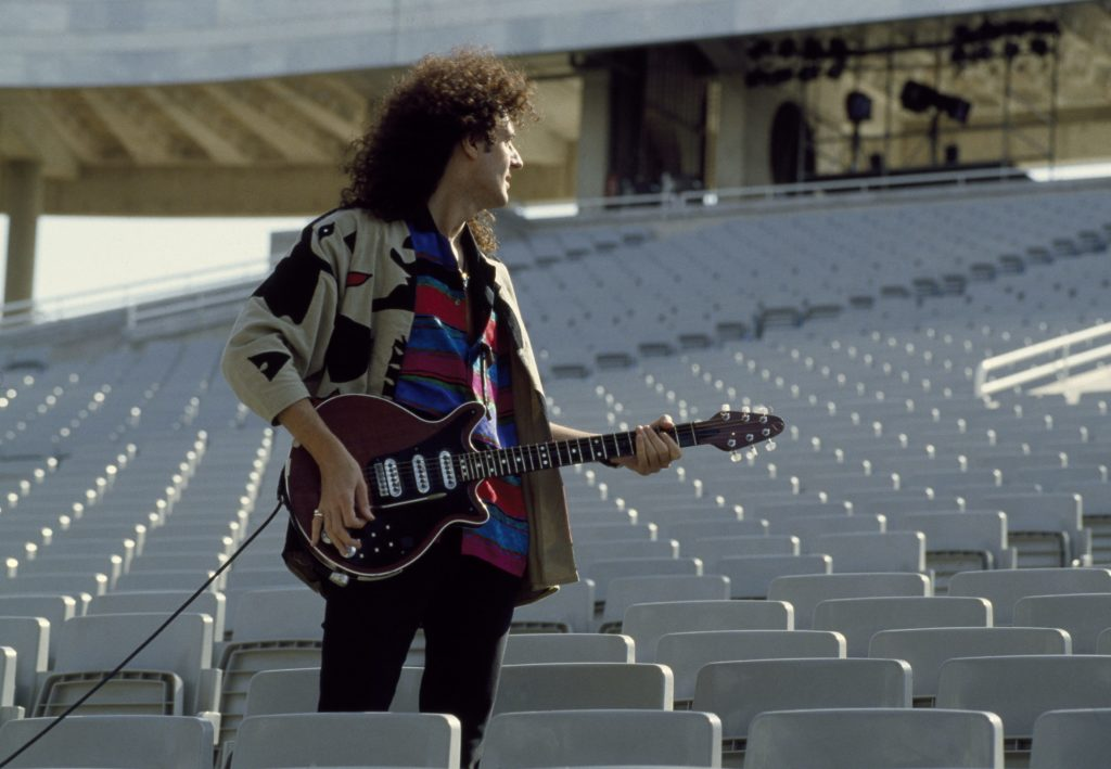 Brian May formed Queen with drummer Roger Taylor, then called Smile in the 1960s. (Michael Putland/Getty Images)