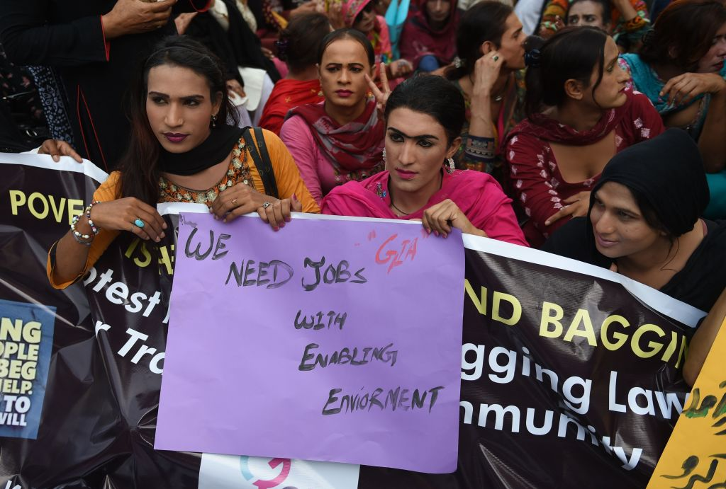 Transgender people protest in Pakistan in 2019, prior to the lockdown, demanding an end to discrimination