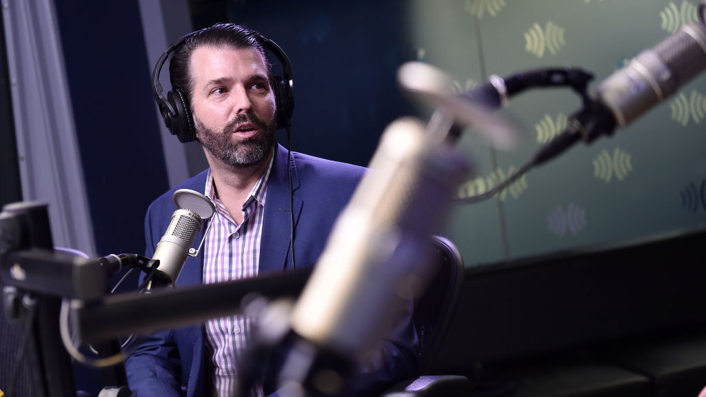 Donald Trump Jr. visits SiriusXM Studios on February 13, 2020 in New York City