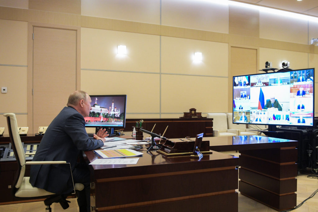 Russia's president Vladimir Putin holds a meeting at Novo-Ogarevo residence via video link with government members. (Alexei DruzhininTASS via Getty Images)