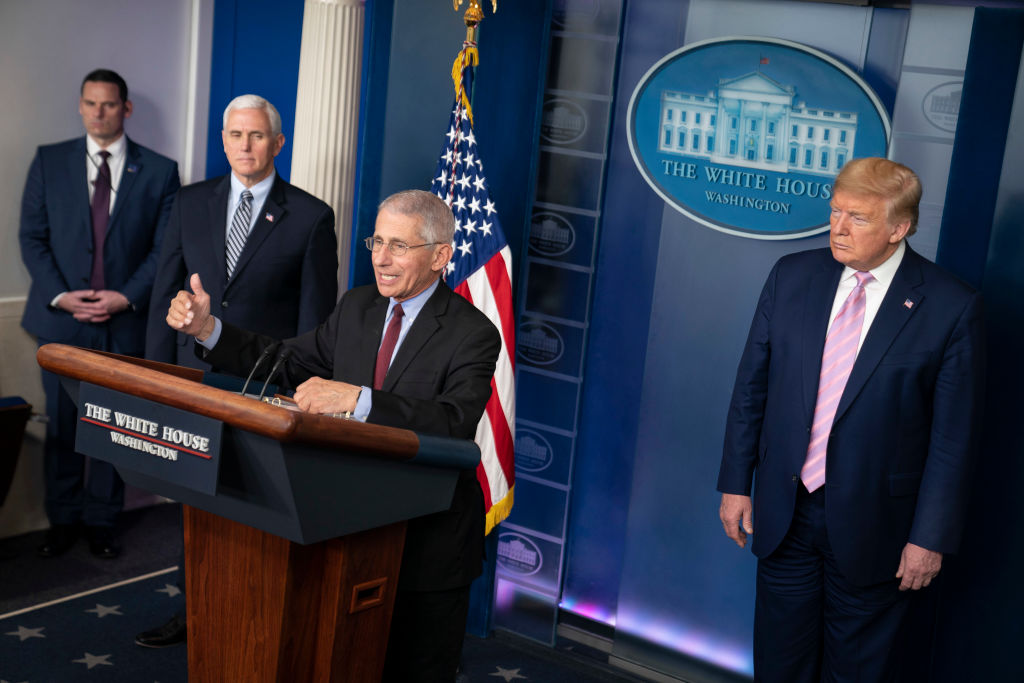 Dr Anthony Fauci, Director of the National Institute of Allergy and Infectious Diseases speaks at a press briefing with members of the White House Coronavirus Task Force