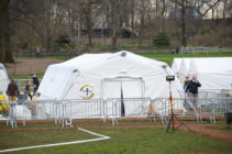 A temporary hospital is built in Central Park on the East Meadow lawn during the Coronavirus pandemic on March 31, 2020 in New York City