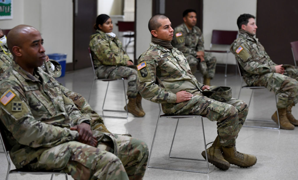 Members of The California National Guard will be helping with staffing at Long Beach temporary shelters. (Brittany Murray/MediaNews Group/Long Beach Press-Telegram via Getty Images)