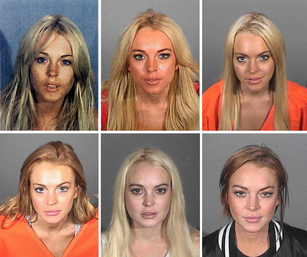 A composite image compares the six booking photos of actress Lindsay Lohan. (Various Sheriff's Departments via Getty Images)