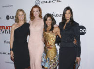 (L-R) Felicity Huffman, Marcia Cross, Eva Longoria and Teri Hatcher attend the Desperate Housewives Premiere Party on October 3, 2004. (Stephen Shugerman/Getty Images)