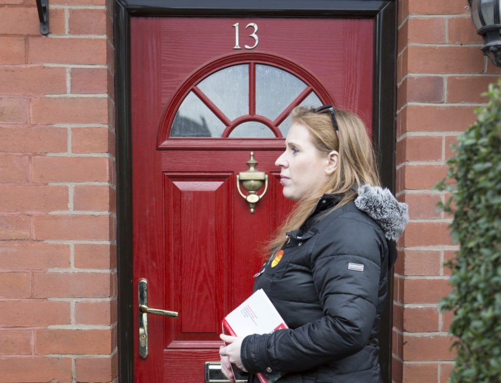Angela Rayner, MP for Ashton-under-Lyne, out campaigning in Oldham, Manchester. (Nicola Tree/Getty Images)