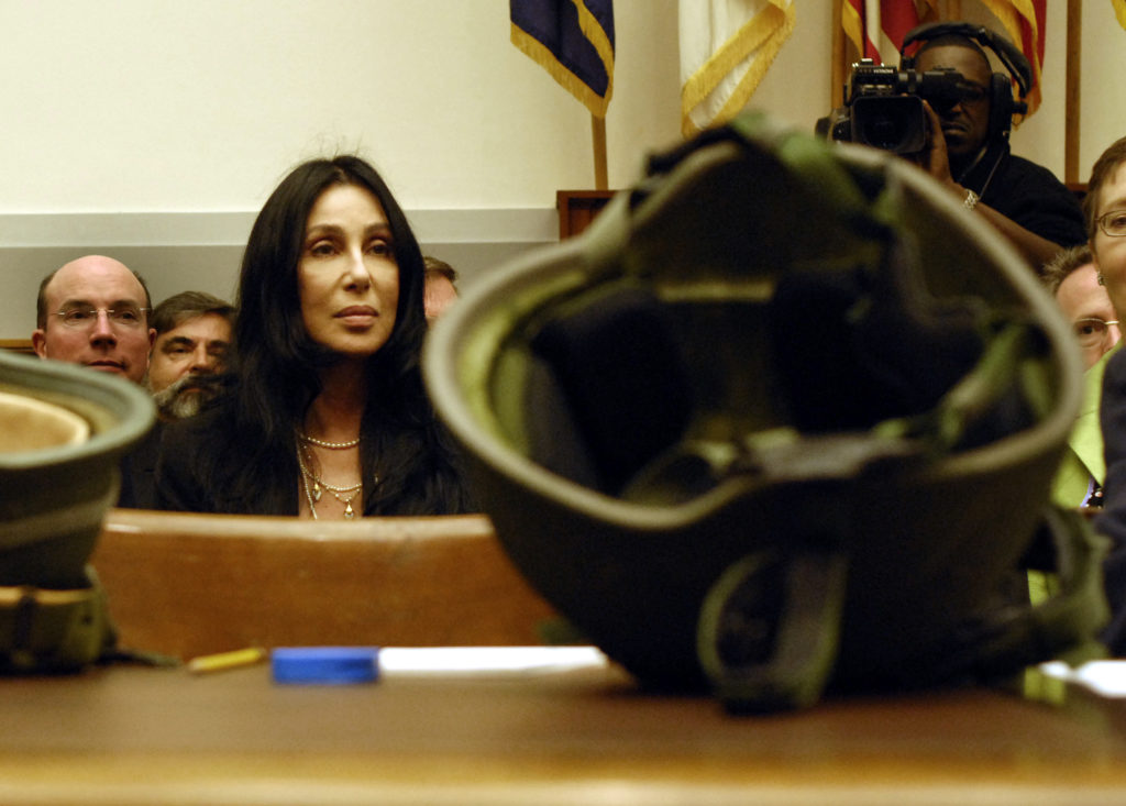 Singer Cher at a House Armed Services Tactical Air and Land Forces Subcommittee hearing on the use of combat helmets, vehicle armour, and body armour by ground forces in Operation Iraqi Freedom and Operation Enduring Freedom. (Chris Maddaloni/Roll Call/Getty Images)