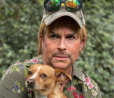 Actor Rob Lowe is 'developing' a Tiger King project with Ryan Murphy. His dog, however, is terrified of the road ahead, apparently. (Instagram)