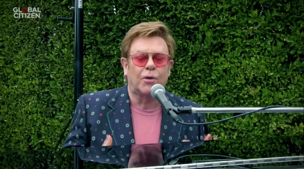 Elton John was one of countless celebrities making up the the event. (Screen capture via Periscope)