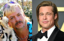 One of these guys is Brad Pitt and the other is Joe Exotic. But which one? We honestly cannot tell. Help! (Netflix Steve Granitz/WireImage via Getty Images)