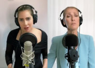 Behind microphone stands in their homes, Lady Gaga (L) joined Céline Dion to close the One World: Together at Home special. (Screen captures via Twitter)