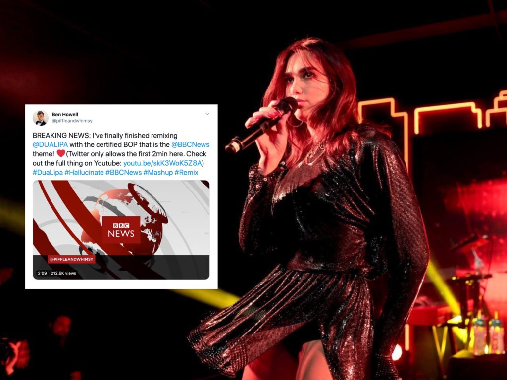 """Someone blended the BBC News and BBC World intro themes with Dua Lipa's """"Hallucinate"""" and it's glorious. (Christopher Polk/Getty)"""