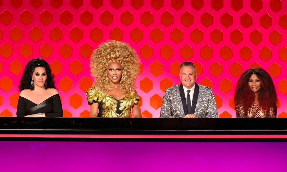 Michelle Visage, RuPaul, Ross Matthews and Chaka Khan behind the Drag Race season 12 judging table