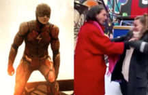 Ezra Miller's role in the upcoming 2022 movie The Flash is in jeopardy, a source close to Warner Bros has claimed, after the star was caught 'choking' a fan at a bar in Iceland. (Warner Bros/Screen capture via Twitter)