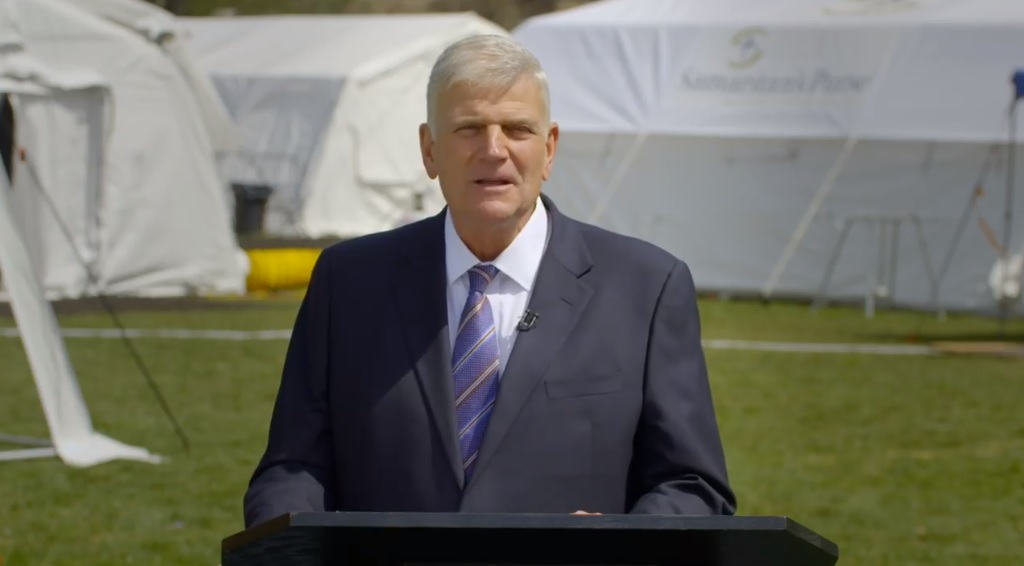 Franklin Graham brought in a camera crew to record an Easter sermon from the tent hospital 'relief' site