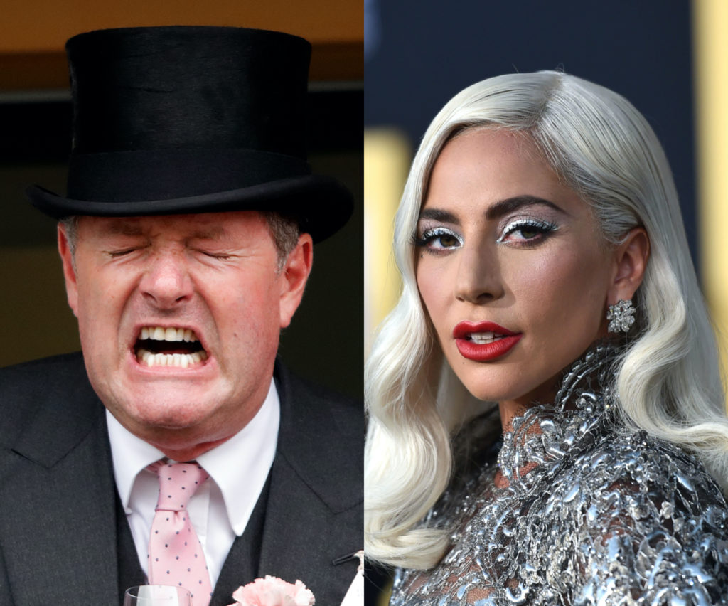 Piers Morgan (L) took to Twitter to ask why Lady Gaga as involved in a World Health Organization conference for coronavirus. ( Max Mumby/Indigo via Getty/Neilson Barnard via Getty)