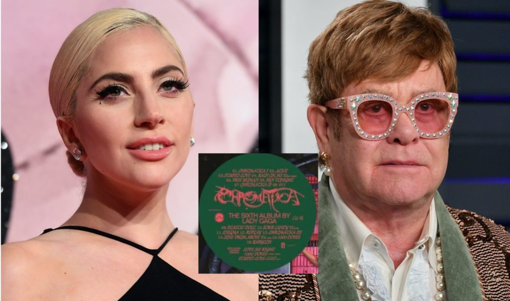 A leaked version of the Lady Gaga Chromatica tracklist has revealed an alleged duet with Elton John. (Getty/Twitter)