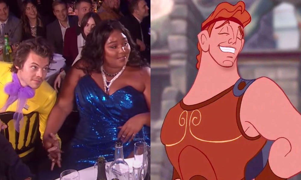 Lizzo and Harry Styles holding hands / Hercules