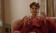 Patti LuPone holding a martini glass in Hollywood
