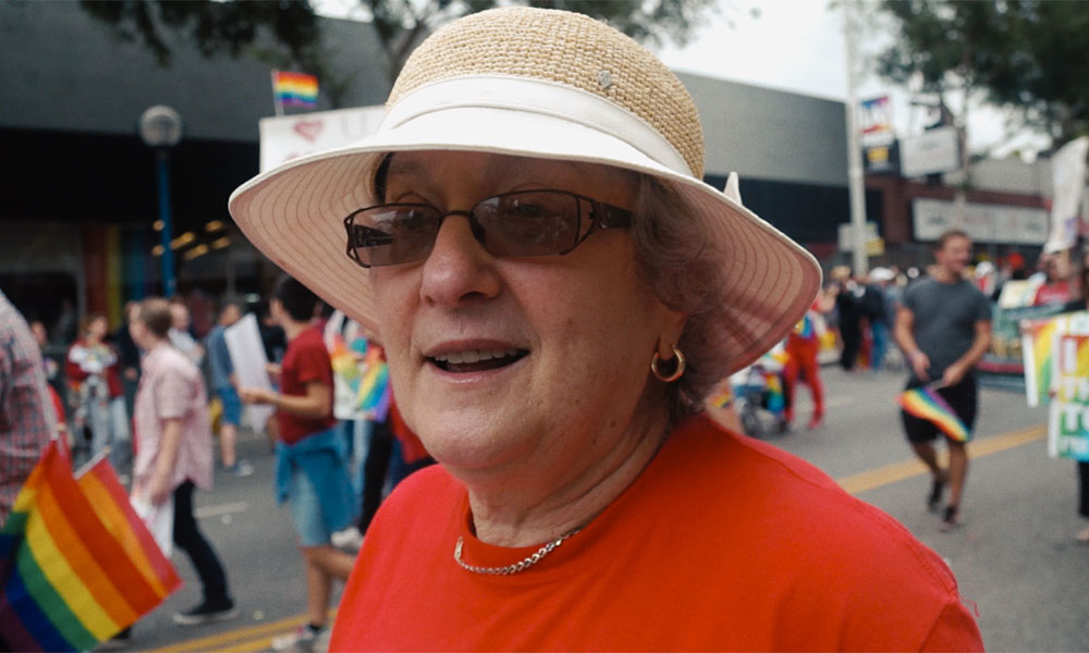Karen Mason attending a Pride event with PFLAG.