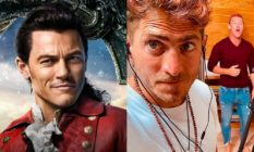 Luke Evans as Gaston and with his boyfriend