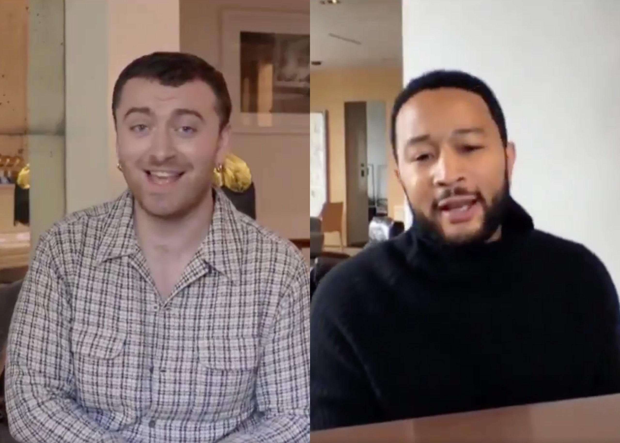"""Sam Smith and John Legend joined forces for a rousing rendition of """"Stand By Me"""". (Screen captures via Periscope)"""