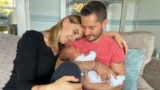 Jake Graf (R) shared a tender snapshot of he and Hannah's new addition to their family. (Twitter)