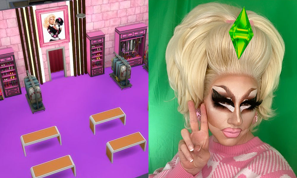 Trixie Mattel and a The Sims recreation of the Drag Race werk room