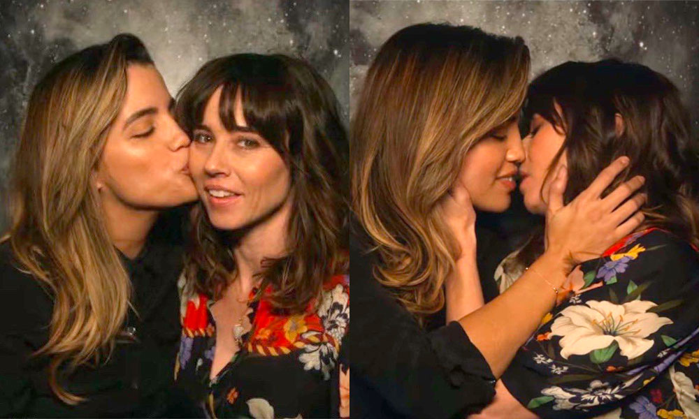 Dead to Me's Judy and Michelle kissing
