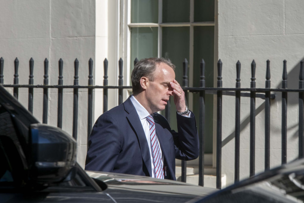 Foreign secretary Dominic Raab arrives at Downing Street on the day after UK passed Italy on the Coronavirus death toll and now has the highest number in Europe on May 6, 2020 in London, England. (Erica Dezonne/PX Images/Icon Sportswire via Getty Images)