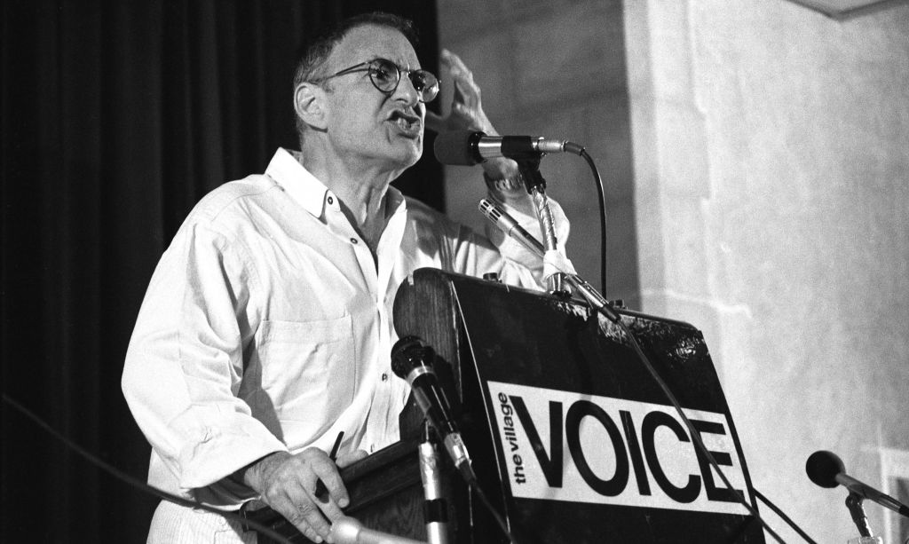 Larry Kramer at Village Voice AIDS conference on June 6, 1987 in New York City, New York