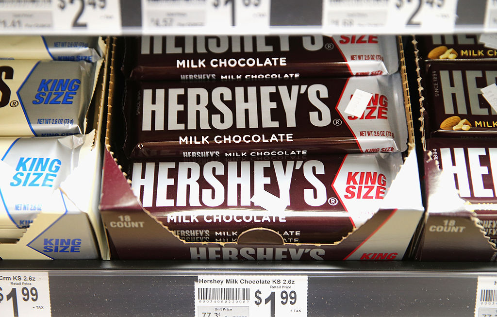 Hershey Company chocolate bars are offered for sale