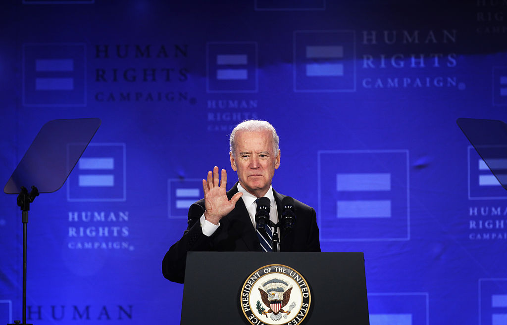 Former Vice President Joe Biden won support from the Human Rights Campaign