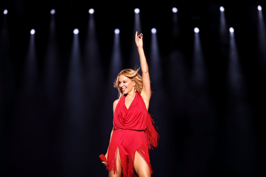 Kylie Minogue. (Brendon Thorne/Singapore GP via Getty Images)