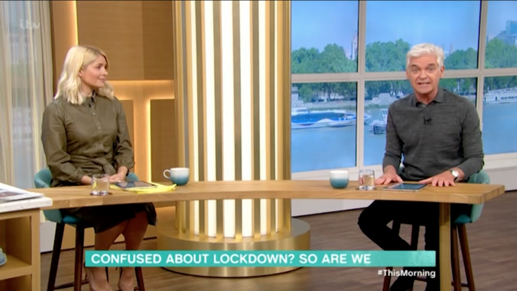 Holly Willoughby, stunned into silence, as Philip Schofield tears into Boris Johnson and his cabinet's handling of the coronavirus pandemic. (Screen capture via ITV)