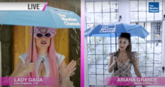 When it rains, it pours according to weather girls Lady Gaga (L) and Ariana Grande (R). (screen capture via YouTube)