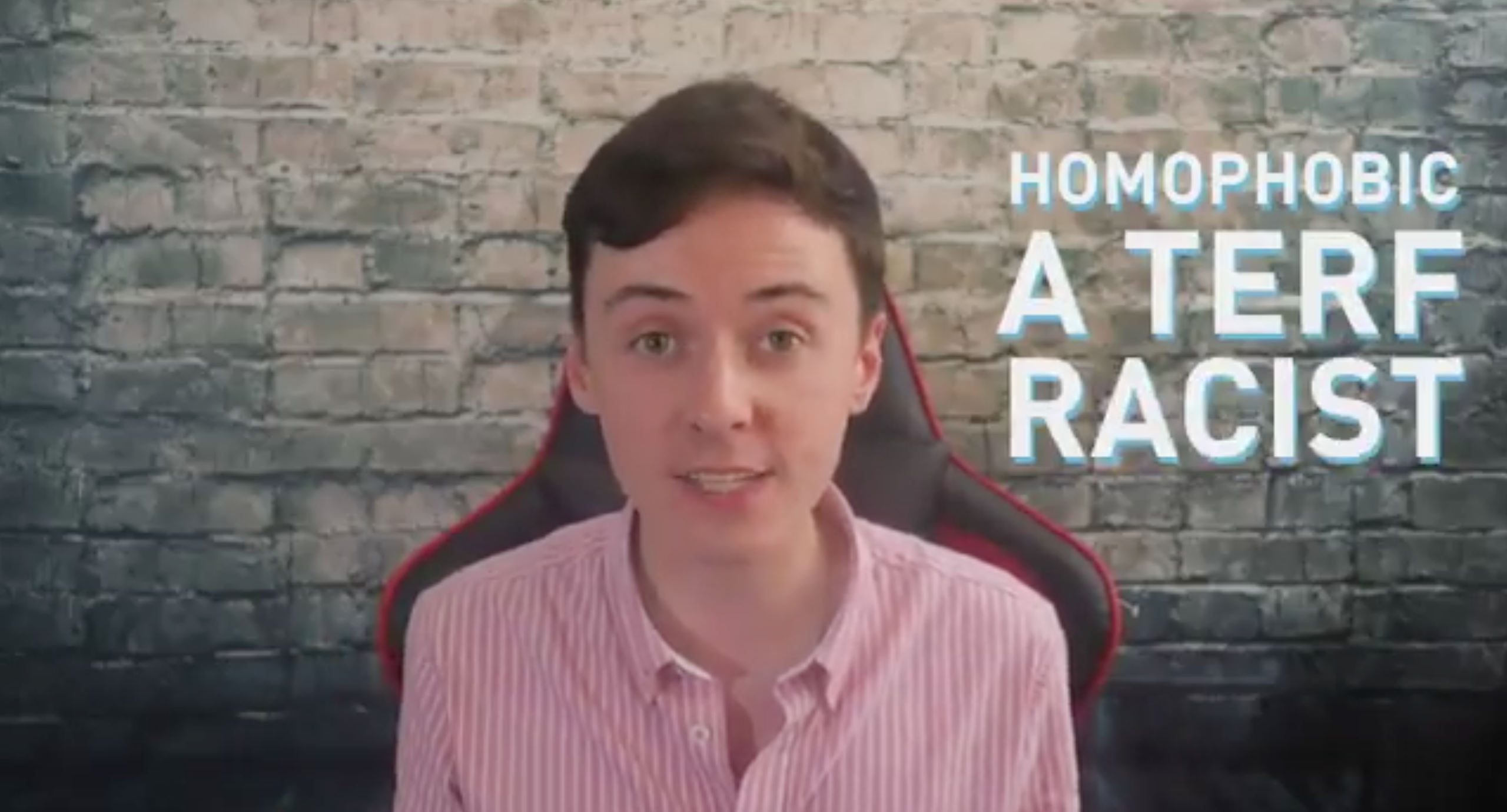 """Darren Grimes, a gay British political commentator, launched a safe space-type group for, he billed, castaways called """"homophobic"""" and racist"""". (Screen capture via Twitter)"""