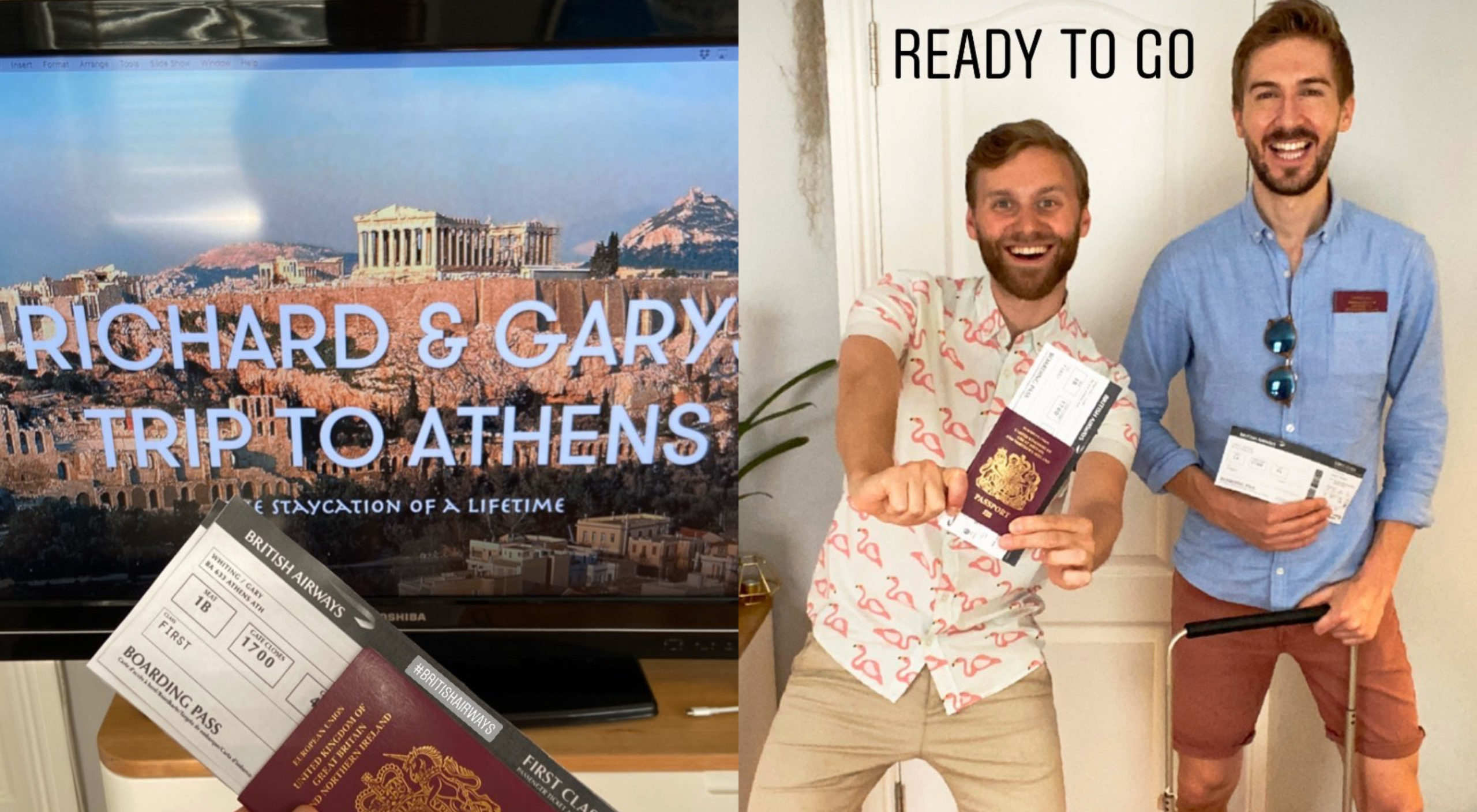 "After months of sheltering in their homes, Gary Whiting (L) took Richard Earley (R) on ""holiday"" to Athens, Greece. (Instagram)"
