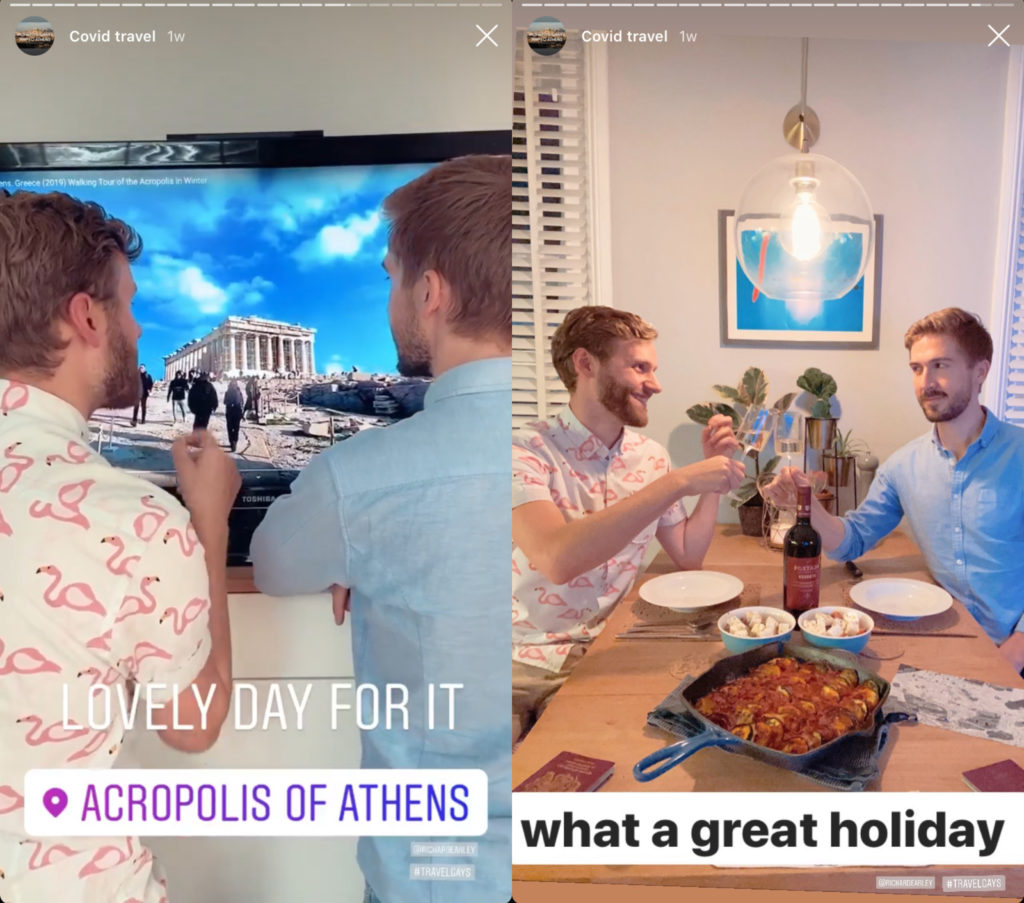 After a busy day watching YouTube videos of people exploring Athens, Richard Earley and Gary Whiting clinked glasses of Greek red wine together in their replica of a restaurant. (Instagram)